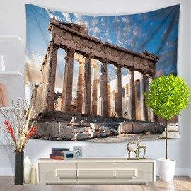 Greece Parthenon Temple Pattern Decorative Hanging Wall Tapestry