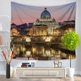 Italy Gorgeous Architectures Night Scene Pattern Decorative Hanging Wall Tapestry