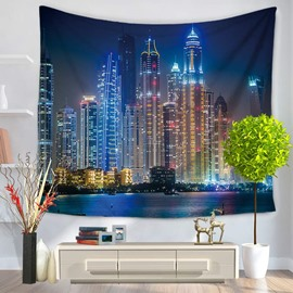 City Night Scene with Colorful Lights Decorative Hanging Wall Tapestry