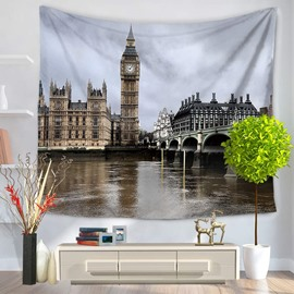 Place of Interest London Bridge and Big Ben Decorative Hanging Wall Tapestry