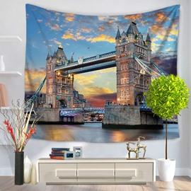 Sunset London Tower Bridge Pattern Decorative Hanging Wall Tapestry