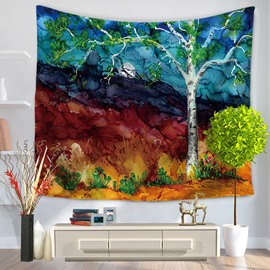 Wild Field Night Scene with Green Tree and Moon Decorative Hanging Wall Tapestry