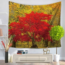Love Fall with Red Maple and Yellow Trees Decorative Hanging Wall Tapestry