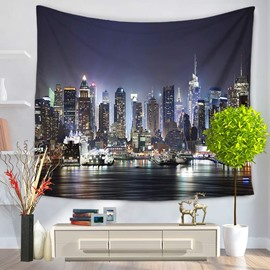Prosperous Metropolis Night Scene Pattern Decorative Hanging Wall Tapestries