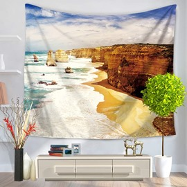 Yellow Seaside Beach and Rocks Pattern Decorative Hanging Wall Tapestry