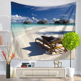 Sunny Sea Beach with Wooden Lounge Chair Pattern Decorative Hanging Wall Tapestry