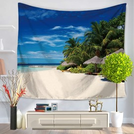 Sea Beach Scenery with Blue Sky Pattern Decorative Hanging Wall Tapestry