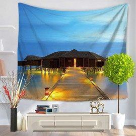 Night Seascape and Long Trestle to Island Wooden House Decorative Hanging Wall Tapestry