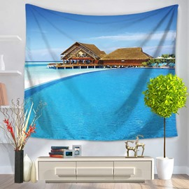 Seascape with Blue Sea and Wooden House Pattern Decorative Hanging Wall Tapestry
