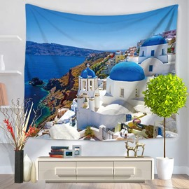 White Buildings and Blue Roof Coastal City Decorative Hanging Wall Tapestry