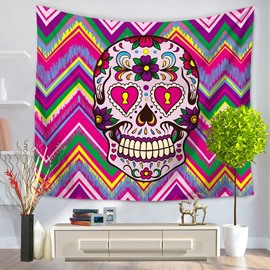 Skull Falling in Love with Zigzag Background Decorative Hanging Wall Tapestry