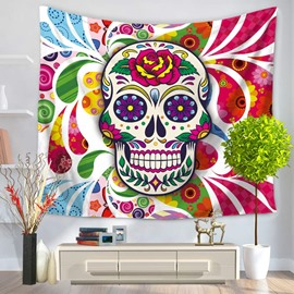 Chic Skull with Big Mouth and Flowers Decorative Hanging Wall Tapestry