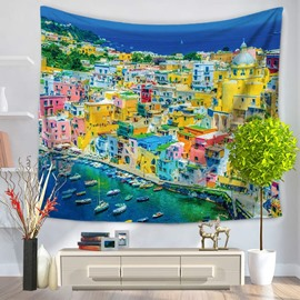 Coastal City Ships and Colorful Buildings Decorative Hanging Wall Tapestry