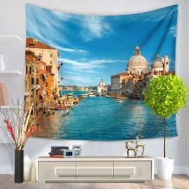 Coastal Water City Scenery Decorative Hanging Wall Tapestry