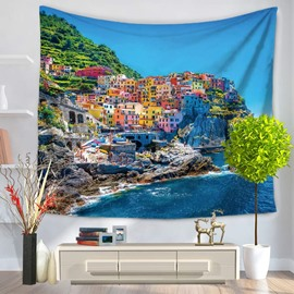 Coastal City and Ocean Scenery Decorative Hanging Wall Tapestry