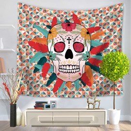 Colorful Grid Skull Shape with Feather and Flowers Decorative Hanging Wall Tapestry