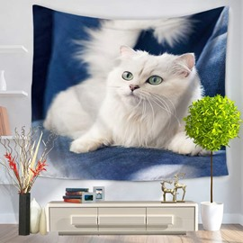 White Persian Cat on Chair with Bright Eyes Decorative Hanging Wall Tapestry