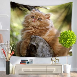 Tabby Persian Cat Sitting on Pipes Decorative Hanging Wall Tapestry