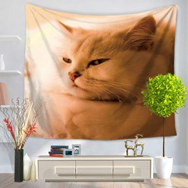Cute Persian Cat Sleeping Pattern Decorative Hanging Wall Tapestry
