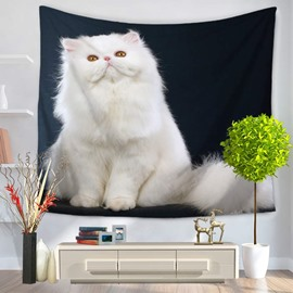 Super Noble White Persian Cat Decorative Hanging Wall Tapestry