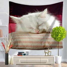 Cute White Persian Cat Sleeping on Pillows Decorative Hanging Wall Tapestry