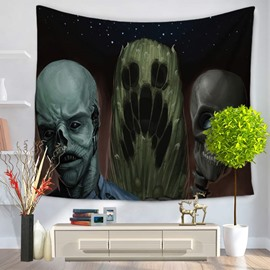 Three Horrible Monster in Dark Night Decorative Hanging Wall Tapestry