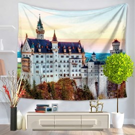 European Architecture with White Surface Decorative Hanging Wall Tapestry