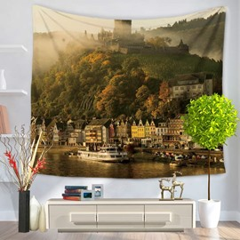 Coastal City with Ships and Buildings Decorative Hanging Wall Tapestry