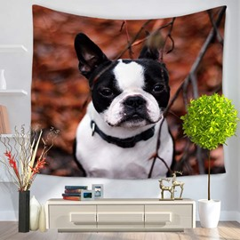 Cute Bulldog with Black and White Colors Decorative Hanging Wall Tapestry