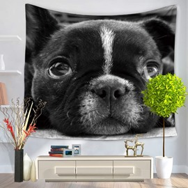 Black Bulldog with Big Bright Eyes Decorative Hanging Wall Tapestry