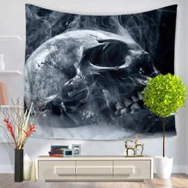 Terrifying Skull and Smog Grey Decorative Hanging Wall Tapestry