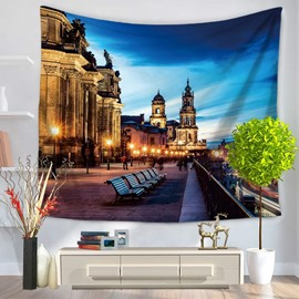 Charming German Berlin City Night Scene Decorative Hanging Wall Tapestry
