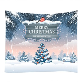Snowy Christmas Day and Trees Decorative Hanging Wall Tapestry