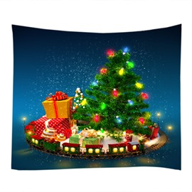 Christmas Trees Decorated with Gifts and Balls Hanging Wall Tapestry