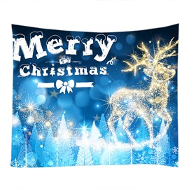 Crystal Deer Merry Christmas Pattern Blue Decorative Hanging Wall Tapestry