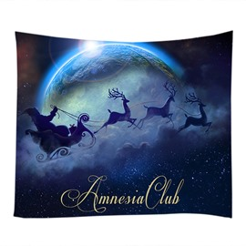 Christmas Reindeer and Moon Decorative Hanging Wall Tapestry