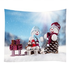 Christmas Snowmen Family and Gifts Decorative Hanging Wall Tapestry