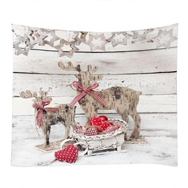 Christmas Reindeer with Bowknot Decorative Hanging Wall Tapestry