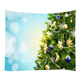 Green Christmas Tree with Ornaments Decorative Hanging Wall Tapestry