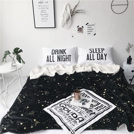 Chic Constellation Pattern Black Fluffy Super Soft Bed Blankets