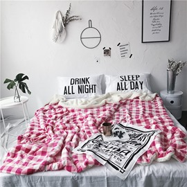 Pink Grid Printed Nordic Style Fluffy Super Soft Bed Blankets