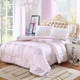 Full Size Floral Pattern Super Soft Pink Cotton Winter Thick Quilts