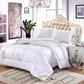 Full Size Floral Pattern Super Soft White Cotton Winter Thick Quilts