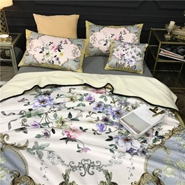 Flowers Blooming Golden Scrolls Luxury Style 2-Piece Bed Pillowcases