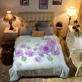 Purple Corn Poppy Light Blue Reversible Fuzzy Warm Thick Fleece Bed Blanket