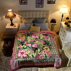 Tropical Flowers and Plants Reversible Fuzzy Warm Thick Fleece Bed Blanket
