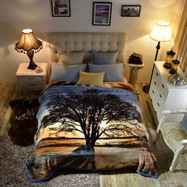 Sunset and Tree Shadow Luxury Style Reversible Fuzzy Warm Thick Fleece Bed Blanket