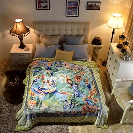 Peacock and Swans Animals Luxury Style Reversible Fuzzy Warm Thick Fleece Bed Blanket