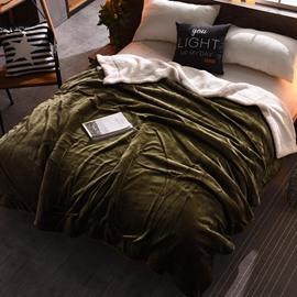 Solid Dark Green Plush Reversible Sherpa Super Soft Fluffy Throw/Bed Blanket