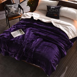 Solid Purple Plush Reversible Sherpa Super Soft Fluffy Throw/Bed Blanket